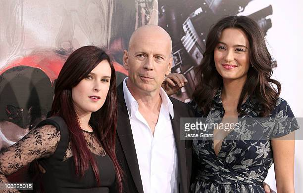 Actress Rumer Willis actor Bruce Willis and wife Emma Heming arrive at the premiere of 'The Expendables' at Grauman's Chinese Theatre on August 3...