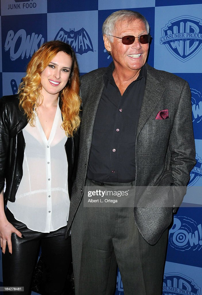 Actress Rumer Willis and actor Adam West attend the Warner Bros. Consumer Products And Junk Food Celebrate The Launch Of The Batman Classic TV Series Licensing Program held at Meltdown Comics and Collectibles on March 21, 2013 in Hollywood, California.