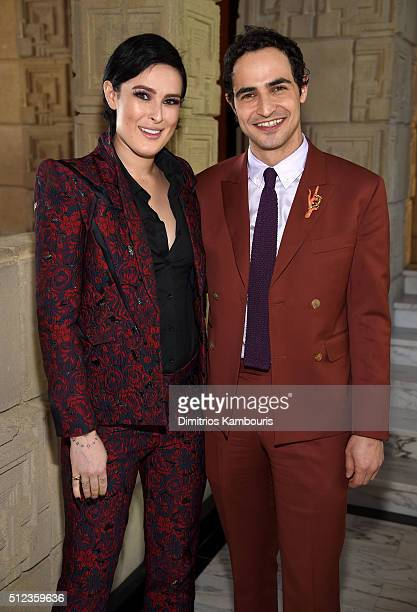 Actress Rumer Willis and fashion designer Zac Posen attend the MAC Cosmetics Zac Posen luncheon at the Ennis House hosted by Karen Buglisi Weiler...