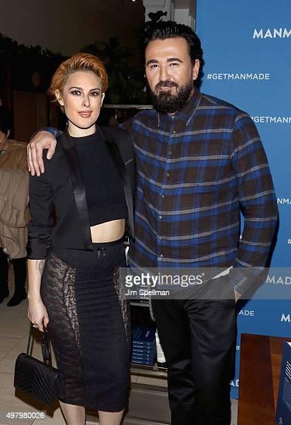 Actress Rumer Willis and Kiehl's president Chris Salgardo attend the Chris Salgardo's 'MANMADE' book prelaunch party at Saks Fifth Avenue on November...