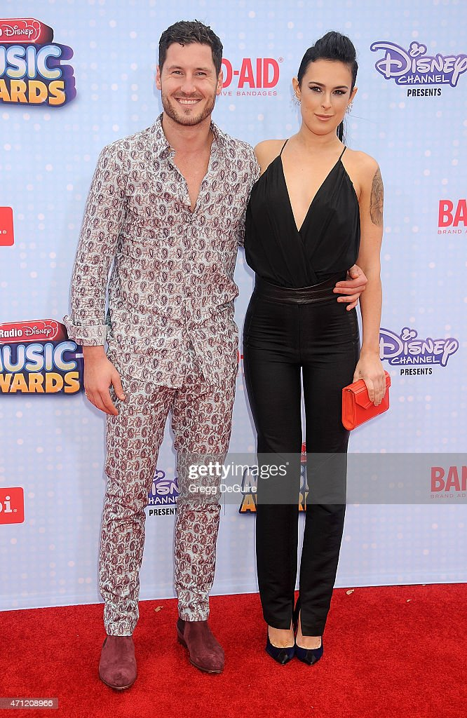 Actress Rumer Willis and Val Chmerkovskiy arrive at the 2015 Radio Disney Music Awards at Nokia Theatre L.A. Live on April 25, 2015 in Los Angeles, California.