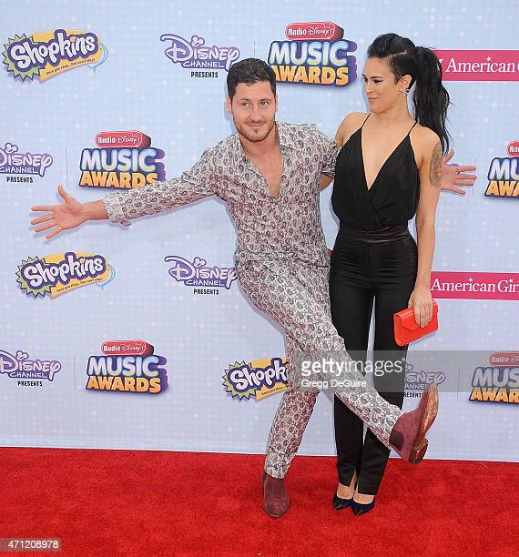 Actress Rumer Willis and Val Chmerkovskiy arrive at the 2015 Radio Disney Music Awards at Nokia Theatre LA Live on April 25 2015 in Los Angeles...