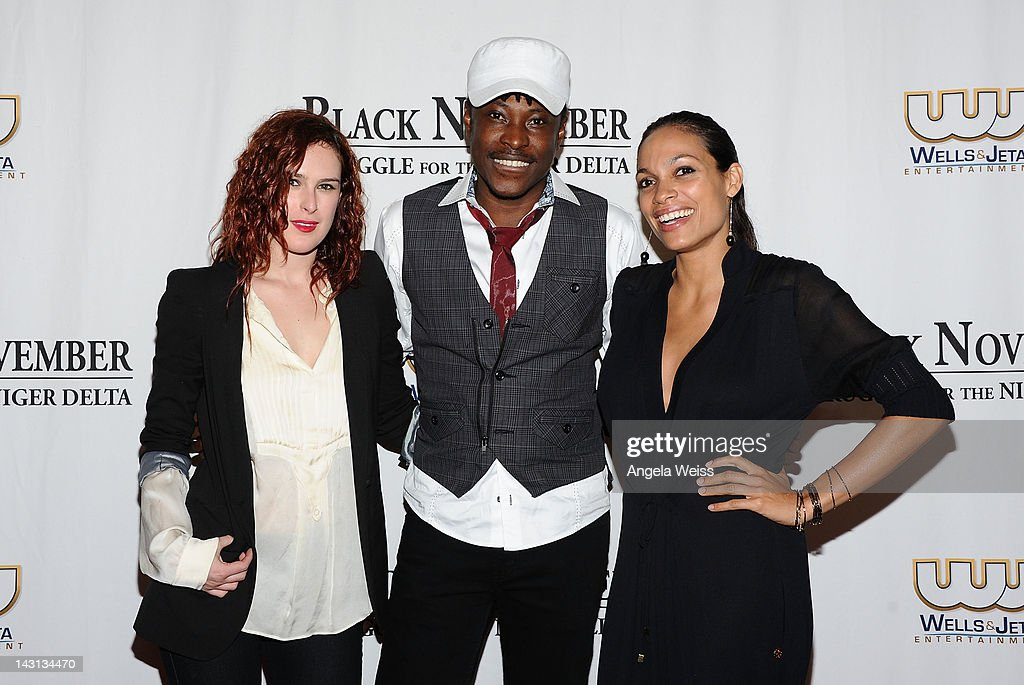 Actress Rumer Willis, director Jeta Amata and actress Rosario Dawson attend the 'Black November' screening on April 18, 2012 in Beverly Hills, California.