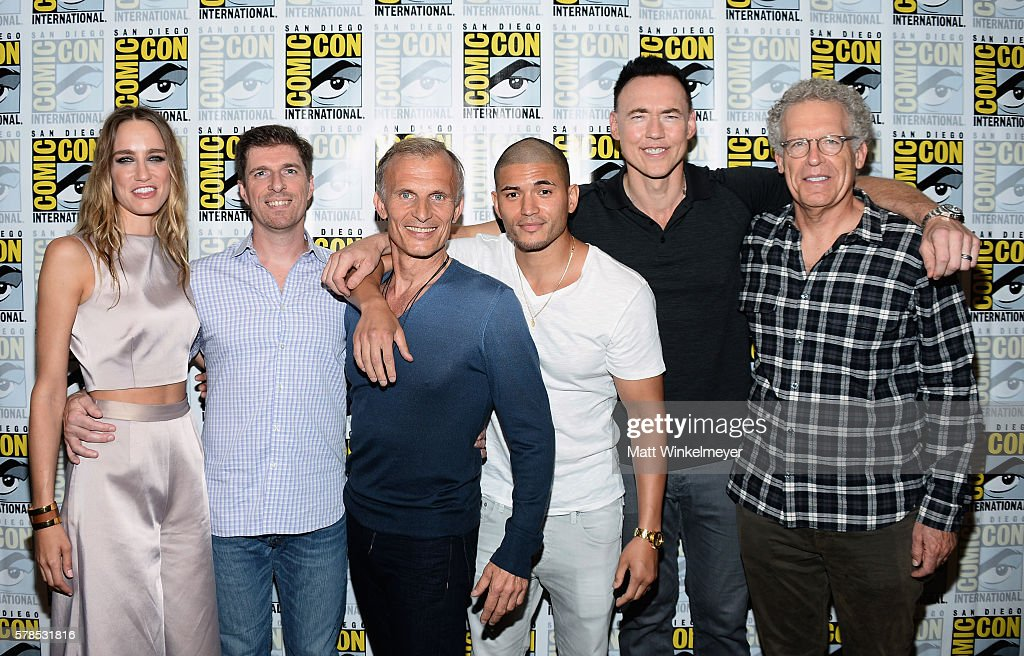 Actress Ruta Gedmintas, creator Chuck Hogan, actors Richard Sammel, Miguel Gomez, Kevin Durand and executive producer Carlton Cuse attend FX's 'The Strain' press line during Comic-Con International 2016 at Hilton Bayfront on July 21, 2016 in San Diego, California. at Hilton Bayfront on July 21, 2016 in San Diego, California.