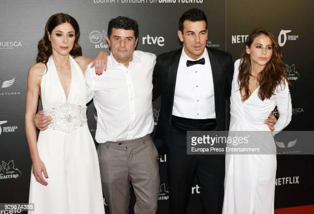 Actress Ruth Diaz director Samu Fuentes actor Mario Casas and actress Irene Escolar attend 'Bajo la Piel del Lobo' premiere at Callao cinema on March...