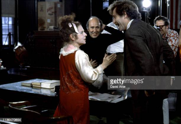 Actress Ruth Gordon, director Carl Reiner, and actor George Segal on the set of the movie Where's Poppa in May, 1970 in Long Island, New York.