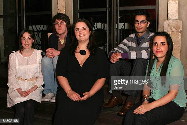 Actress Ruth Jones with young writers Molly Davies Nick Payne Hammaad Chaudry and Ali Bano attend the launch of Young Writers Festival held at the...