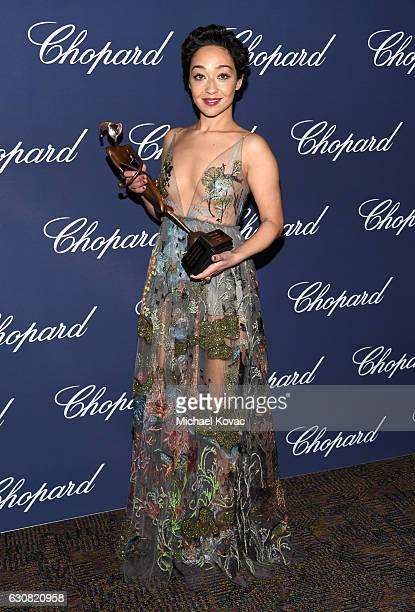 Actress Ruth Negga poses with the Rising Star Award during the 28th Annual Palm Springs International Film Festival Film Awards Gala at the Palm...