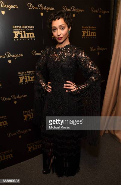 Actress Ruth Negga visits the Dom Perignon Lounge before receiving the Virtuosos Award at The Santa Barbara International Film Festival on February 4...