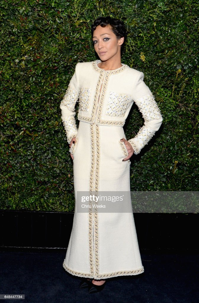 Actress Ruth Negga, wearing CHANEL, attends the Charles Finch and CHANEL Pre-Oscar Awards Dinner at Madeo Restaurant on February 25, 2017 in Beverly Hills, California.