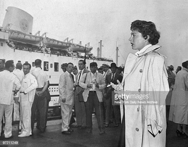 Actress Ruth Roman waits for her son to arrive at Pier 97 after the Andrea Doria disaster Roman and her son Richard were among passengers aboard the...