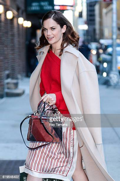 """Actress Ruth Wilson enters """"The Late Show With Stephen Colbert"""" taping at the Ed Sullivan Theater on October 31, 2016 in New York City."""