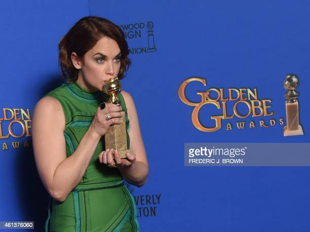Actress Ruth Wilson poses with the award for Best Actress TV Series Drama for her role in The Affair in the press room at the 72nd annual Golden...