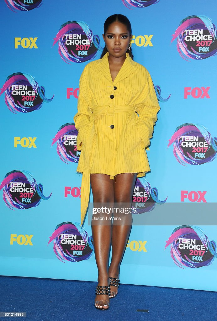 Actress Ryan Destiny poses in the press room at the 2017 Teen Choice Awards at Galen Center on August 13, 2017 in Los Angeles, California.