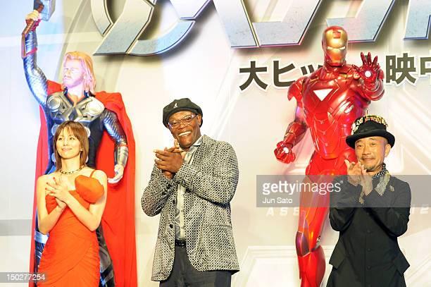 Actress Ryoko Yonekura actors Samuel L Jackson and Naoto Takenaka attend 'The Avengers' Japan premier at Roppongi Hills Arena on August 14 2012 in...