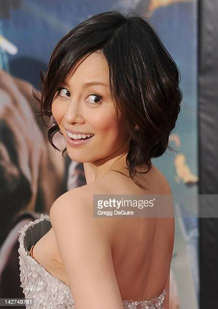 """Actress Ryoko Yonekura arrives at the Los Angeles premiere of """"Marvel's Avengers"""" at the El Capitan Theatre on April 11, 2012 in Hollywood,..."""