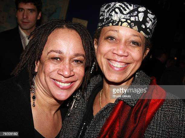 Actress S Epatha Merkerson and Activist/Professor Atallah Shabazz pose at The Opening Night Party for the Revival of Come Back Little Sheba at Planet...