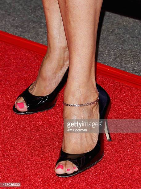 Actress S Epatha Merkerson shoe detail attends the 2015 NBC upfront presentation red carpet event at Radio City Music Hall on May 11 2015 in New York...