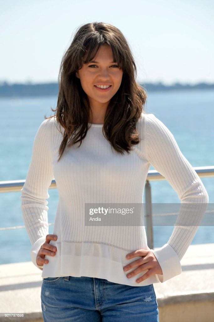 Actress Sabrina Bartlett posing for a photocall on the occasion of the MipTV, International Television Programme Market, in Cannes (south-eastern France) on .