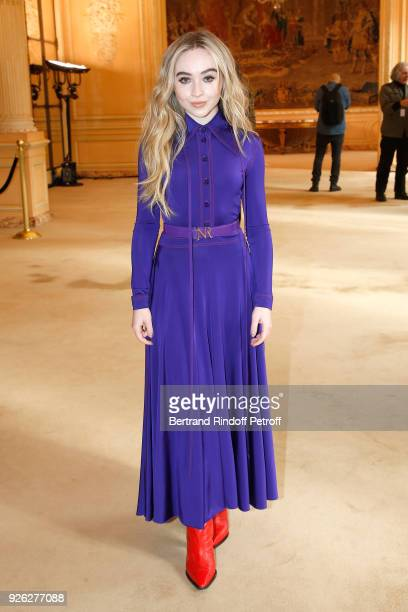 Actress Sabrina Carpenter attends the Nina Ricci show as part of the Paris Fashion Week Womenswear Fall/Winter 2018/2019 on March 2 2018 in Paris...