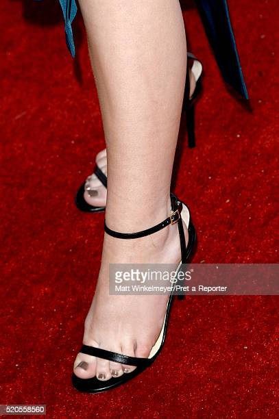 Actress Sabrina Carpenter shoe detail attends the Fresh Faces party hosted by Marie Claire celebrating the May issue cover stars on April 11 2016 in...