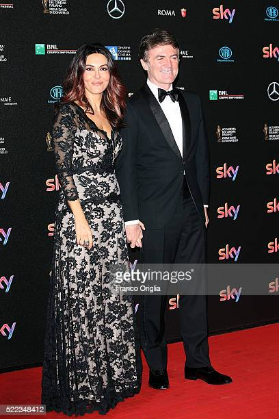 Actress Sabrina Ferilli and Flavio Cattaneo arrive at the 60. David di Donatello ceremony on April 18, 2016 in Rome, Italy.