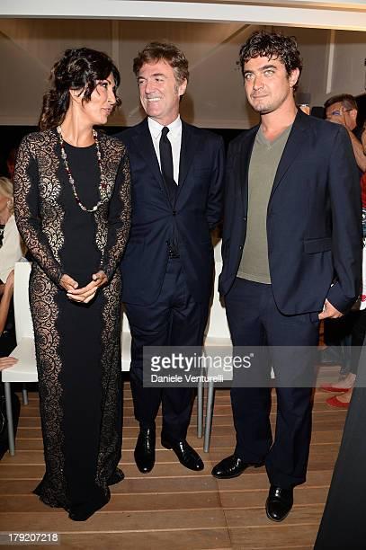 Actress Sabrina Ferilli, Flavio Cattaneo and Riccardo Scamarcio attend Premio Kineo Ceremony during the 70th Venice International Film Festival at...