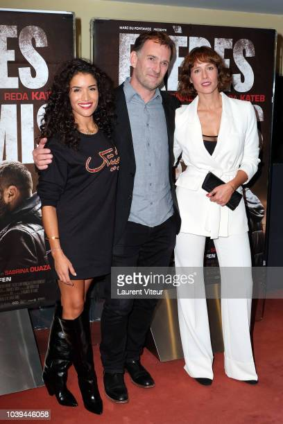 """Actress Sabrina Ouazani, Director David Oelhoffen and Acytress Gwendolyn Gourvenec attends """"Freres Ennemis"""" Paris Premiere at UGC Les Halles on..."""