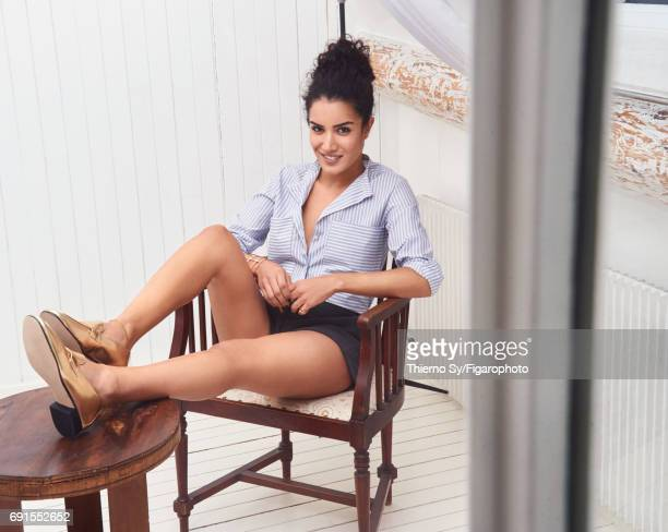 Actress Sabrina Ouazani is photographed for Madame Figaro on February 1, 2017 in Paris, France. Shirt , shorts , cuff and ring , shoes . CREDIT MUST...