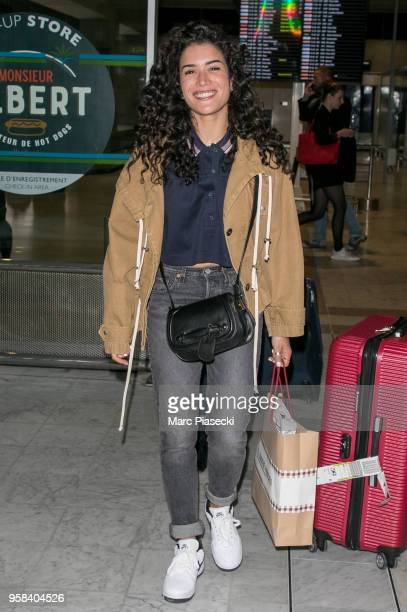 Actress Sabrina Ouazani is seen during the 71st annual Cannes Film Festival at Nice Airport on May 14 2018 in Nice France