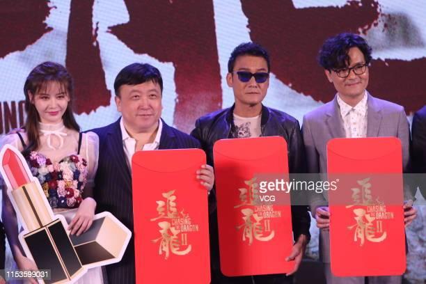Actress Sabrina Qiu Yinong director Wong Jing actor Tony Leung Kafai and actor Gordon Lam attend the premiere of film 'Chasing The Dragon II Wild...