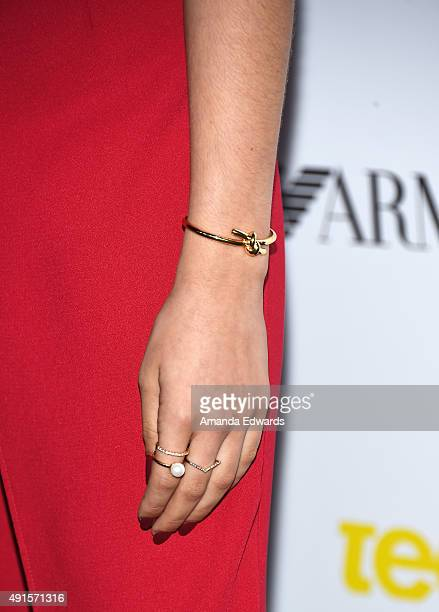 Actress Sadie Calvano jewelry detail arrives at Teen Vogue's 13th Annual Young Hollywood Issue Launch Party on October 2 2015 in Los Angeles...