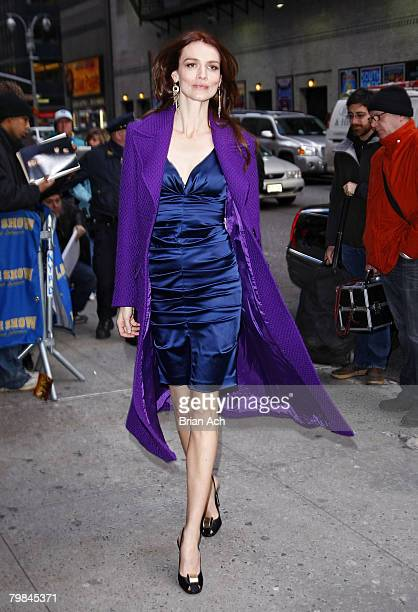 Actress Saffron Burroughs visits Late Show with David Letterman on February 19 at the Ed Sullivan Theatre in New York City