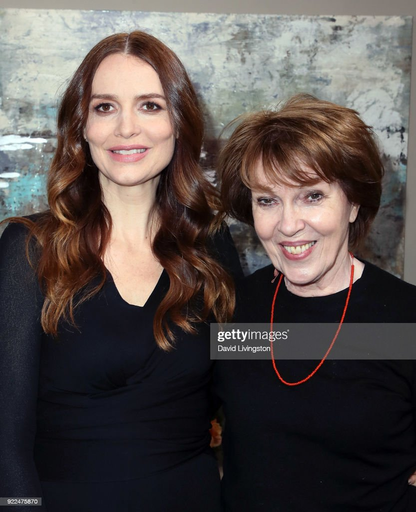 Actress Saffron Burrows (L) and mother Susie Burrows pose at Hallmark's 'Home & Family' at Universal Studios Hollywood on February 21, 2018 in Universal City, California.