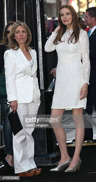Actress Saffron Burrows and spouse Alison Balian attend the premiere of Warner Bros Pictures' The Water Diviner at the TCL Chinese Theatre on April...