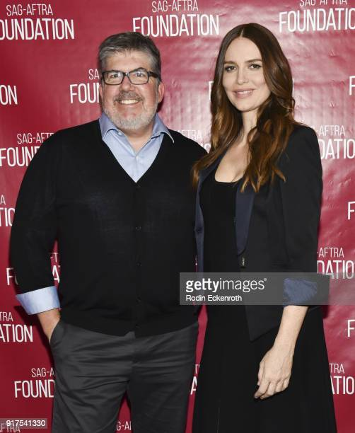 Actress Saffron Burrows and TV Guide Magazine's Jim Halterman pose for portrait at SAGAFTRA Foundation Conversations screening of 'Mozart In The...