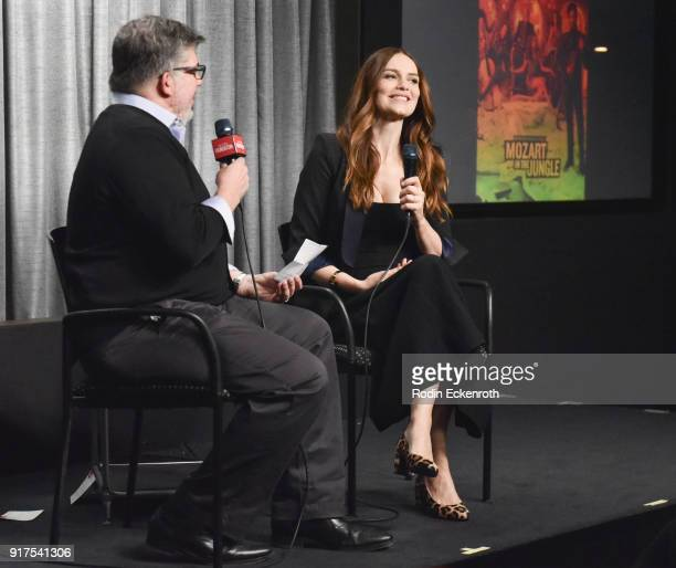 Actress Saffron Burrows and TV Guide Magazine's Jim Halterman speak onstage at SAGAFTRA Foundation Conversations screening of 'Mozart In The Jungle'...