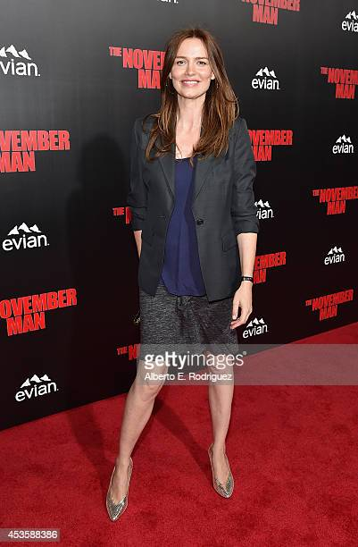 Actress Saffron Burrows arrives to the World Premiere of Relativity Media's The November Man at the TCL Chinese Theatre on August 13 2014 in...