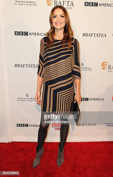 Actress Saffron Burrows attends the BAFTA Los Angeles Awards Season Tea at Four Seasons Hotel Los Angeles at Beverly Hills on January 9 2016 in Los...