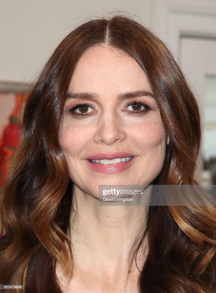 Actress Saffron Burrows visits Hallmark's 'Home & Family' at Universal Studios Hollywood on February 21, 2018 in Universal City, California.