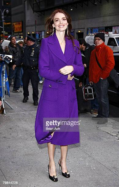 Actress Saffron Burrows visits Late Show with David Letterman on February 19 at the Ed Sullivan Theatre in New York City
