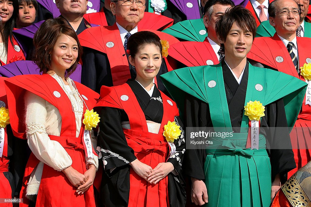 Actress Saki Aibu, actress Takako Tokiwa and actor Kotaro Koizumi attend a bean-scattering ceremony at Shinshoji Temple on February 3, 2009 in Narita, Chiba, Japan. The ceremony is held all over Japan on Setsubun which is the name of the day before the beginning of each season, which in this case is on February 3 or 4, one day before the start of spring according to the Japanese lunar calendar. It has been said that throwing beans drives out misfortune and brings in good luck.