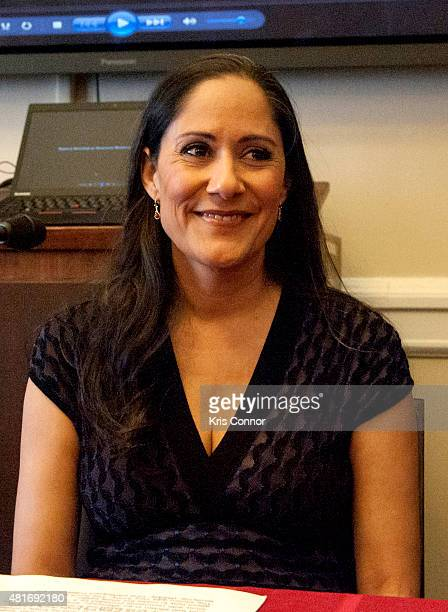 Actress Sakina Jaffrey speaks during a briefing on 'The Impact of AntiMuslim Bigotry' presented by The Congressional Progressive Caucus in the Cannon...