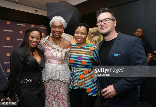 Actress Salamina Mosese founder of the New York African Film Festival Mahen Bonetti director Stephina Zwane and director John Barker attend the...