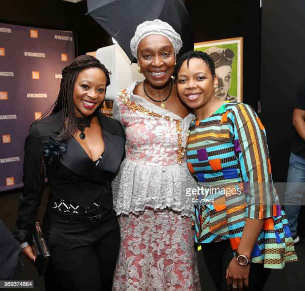 Actress Salamina Mosese founder of the New York African Film Festival Mahen Bonetti and director Stephina Zwane attend the opening night of the 25th...