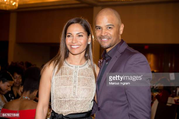 Actress Salli Richardson Whitfield and Dondre Whitfield on stage during the 2017 Black Women Film Summit Untold Stories awards luncheon at Atlanta...
