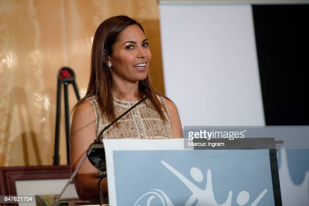 Actress Salli Richardson Whitfield speaks on stage during the 2017 Black Women Film Summit Untold Stories awards luncheon at Atlanta Marriott Marquis...