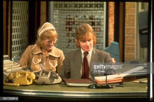 Actress Sally Adcock and Roger Tonge in character as Jane Smith and Sandy Richardson in television soap Crossroads, circa 1973.