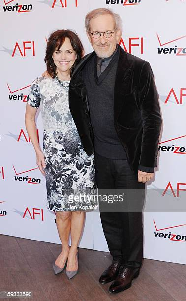 Actress Sally Field and director Steven Spielberg arrive at the 2012 AFI Awards Luncheon on January 11, 2013 in Beverly Hills, California.
