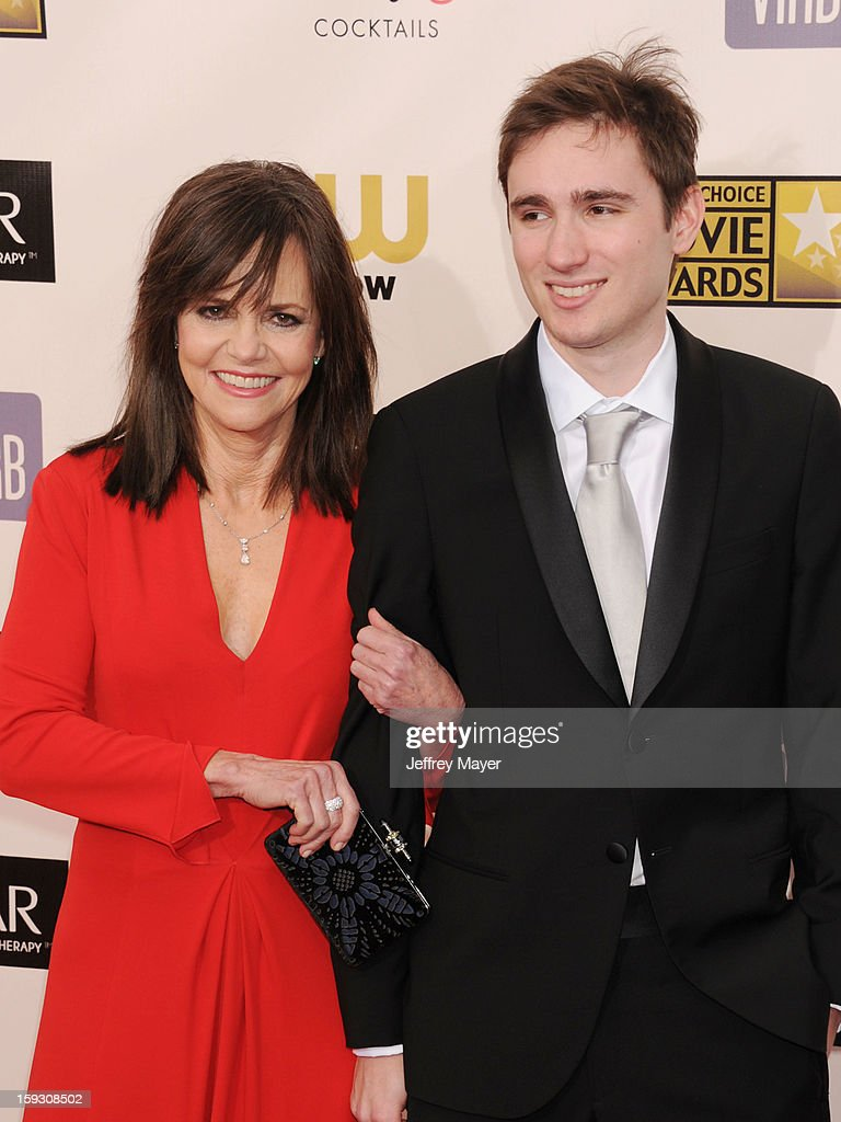 Actress Sally Field and son Sam Greisman arrive at the 18th Annual Critics' Choice Movie Awards at The Barker Hangar on January 10, 2013 in Santa Monica, California.